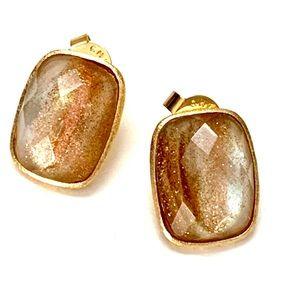 RIVKA FRIEDMAN 18K GOLD CLAD QUARTZ STUD EARRINGS